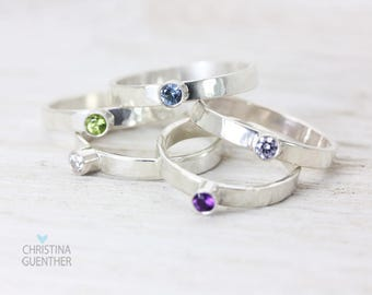 Birthstone Gemstone Sterling Silver Stack Rings, Handmade Personalized, Stackable Thin Rings, Gemstone Ring, Dainty, Christina Guenther