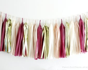 Maroon Burgundy, Cream, Beige Gold Tissue Paper Tassel Garland- Wedding, Birthday, Bridal Shower, Baby Shower, Garden Party Decorations