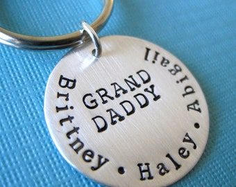 Perfect Gift For Grandfather for Fathers Day - Personalized Hand Stamped Key Chain By Hannah Design