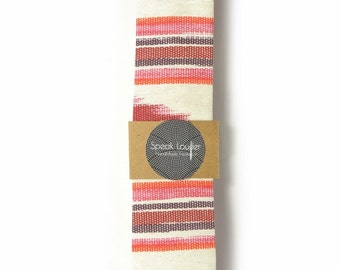 Red oarange and ivory ikat tie - Wedding Mens Tie Skinny Necktie - Laid-Back necktie
