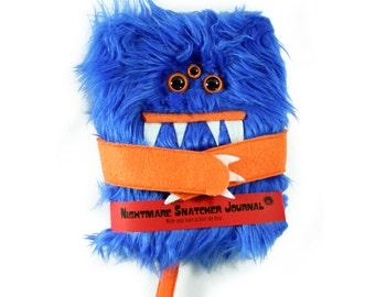 Nightmare Snatcher children's fuzzy monster dream journal, blue orange monster book Growlby
