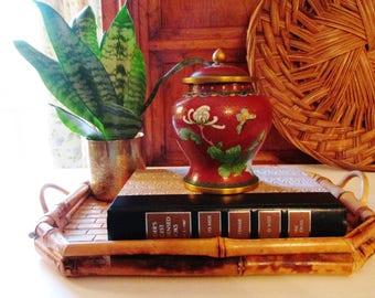 Vintage Cloisonne Ginger Jar, Temple Jar, Oriental Decor, Cloisonne Vase, Chinoiserie Decor