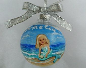 Personalized Mermaid ornament, Handpainted Mermaid Christmas Ornament, Custom Mermaid Ornament, Mermaid Gift for Girl Beach mermaid ornament