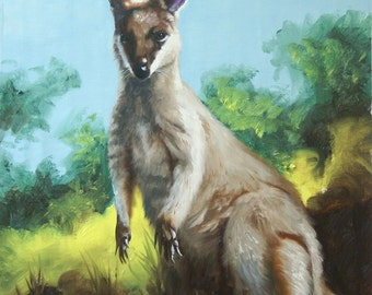 Wallaby wildlife painting oil on canvas 24x20 by RUSTY RUST / W-43