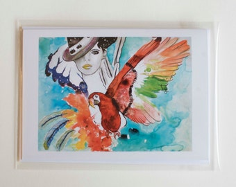 Greeting card illustration watercolor macaw and wife