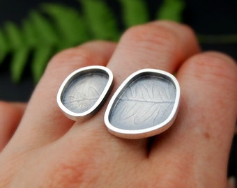 Organic Frame open ring 2 - sterling silver fern printed open face ring 7.5