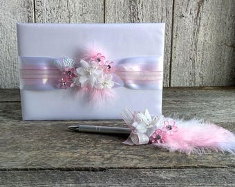 Pink and white wedding guest book with feather stylo, Satin guestbook, Wedding pink guestbook, Shabby chic pink & white guestbook, English