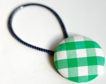 Green Buffalo Plaid Hair Button