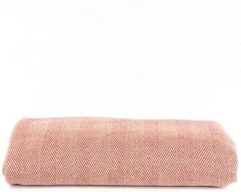 FREE SHIPPING - Vintage Red Pink Herringbone Chevron Blanket Throw