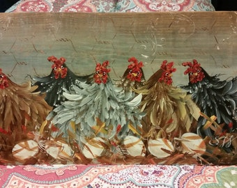 "11"" x 22"" #402 Folk Art Chicken Hens Original Art on Wood The Sitters"