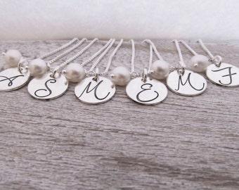 Bridesmaid Jewelry - Bridesmaid Necklaces - Set of 6 - Bridesmaid Initial Necklace - Monogram Necklace