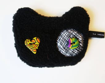 Mini-Pochette stuffed black cat