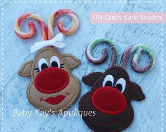 ON SALE In The Hoop Reindeer Candy Cane Holders Applique Design 4x4