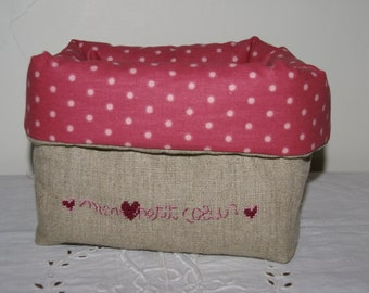 """Fabric basket Organizer quilted linen """"sweetheart"""" rose"""