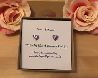 Mum gift, Swarovski Crystal Earrings, Purple Stud Earrings, sterling silver Earrings, bridesmaid Earrings, crystal studs, heart studs