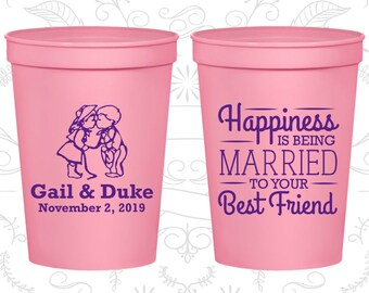 Wedding Stadium Cups, Wedding Cups, Plastic Cups, Stadium Cups, Personalized Cups, Personalized Stadium Cups, Wedding Favors (C514)
