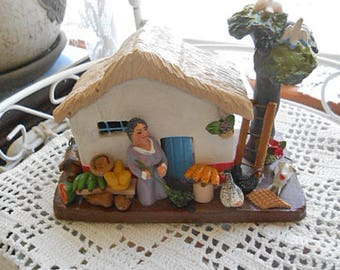 Clay THATCHED COTTAGE Lady Broom Dog Chicken Fruit Doves Palm Tree Columbia Folk Art Pottery Travel Souvenir Handmade Vibrant Painted Color