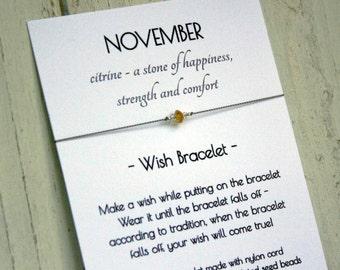 November Birthstone Bracelet - November Birthstone Wish Bracelet - Citrine Bracelet - Citrine Wish Bracelet - November Birthday Bracelet