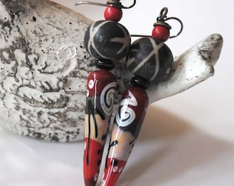 Red Spike Earrings, Lampwork Glass Earrings, Abstract Earrings, Boho Chic Earrings, Long Funky Earrings, Modern Earrings, Red Black Earrings