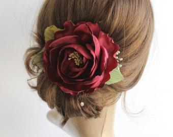 Marsala hair flower, Bridal hair piece, Wedding hair accessory, Marsala rose hair clip, Bridesmaids floral gift,Dark red fabric flower