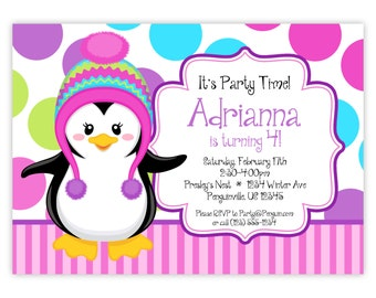 Penguin Invitation - Pink Stripes, Purple, Blue Polka Dots, Winter Girl Penguin Personalized Birthday Party Invite - Digital Printable File