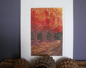 Autumn Trees Textile Art Giclee Print
