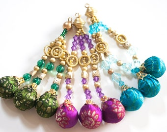 PURPLE and Gold Tassels - Beaded Tassels from India (1 pair)