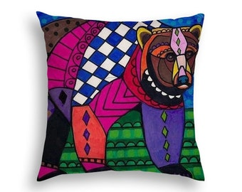 50% SALE- Bear Pillow Animal Lovers Vegan Folk Art throw Pillow by Heather Galler - 5 Sizes to choose from