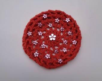 Medium Bun Cover with Pink Flower Rhinestones, Many Colors, Crochet Bun Cover, Bun Wrap, Bun Holder, Snood, Ballet