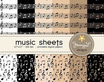 50% OFF Music Sheets Digital Papers, Musical Notes for Digital Scrapbooking, Invitations and more