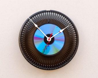 photographers gift clock, photo lovers gift, industrial style gift, upcycled slide tray clock, CD Clock, Reycled Kodak Slide Carousel Clock,
