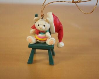 Vintage 1980s Bear Santa Christmas ornament