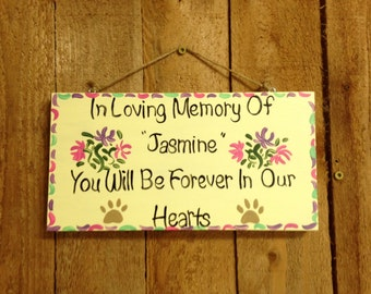 Wood pet memorial sign