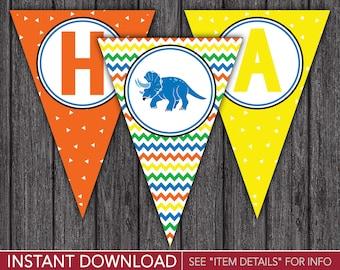Dinosaur Happy Birthday Banner - Dinosaur Party Decorations - Printable Digital File - INSTANT DOWNLOAD
