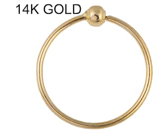 Beaded nose ring 14K Solid Yellow Gold 22G 6mm-10mm Soldered 1 Side 2mm Ball (Made in USA)