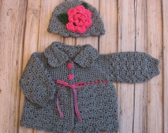Crochet Baby Girl Sweater and Hat Set Infant Sweater Set Knit gray Baby Sweater Baby Jacket  gray toddler sweater Newborn Baby Sweater set