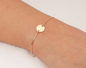 Tiny Disc Bracelet, Gold Bracelet, Delicate Circle Bracelet, Everyday Gold Filled Bracelet, Sterling Silver Bracelet, Layering Bracelet.