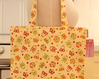 Book Bag Tote Purse - Owls on Yellow