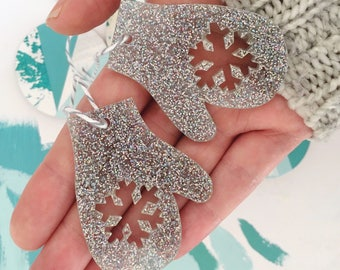 Glitter mitten tree decoration, Set of two christmas decorations, Silver snowflake mitten, tree ornaments, holiday mittens, festive gloves