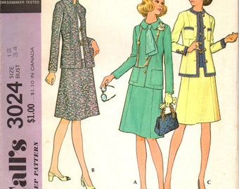 McCall's 3024 Misses' Suit: Jacket and Skirt