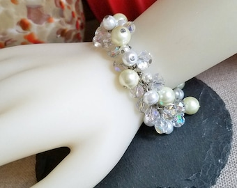 Crystal Pearl Dangle Bracelet, Crystal Pearl Fringe Bracelet, Cha Cha Beaded Bracelet, Handmade Jewelry
