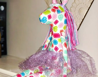 Handmade unicorn diffuser doll // gifts for her // one of a kind // diamond // essential oils