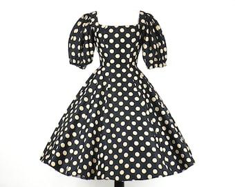 Vintage 50s Dress, 1950s Polka Dot Dress, 50s Circle Skirt Dress, New Look Dress, Suzy Perette