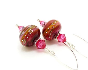 Pink Earrings, Lampwork Earrings, Glass Earrings, Glass Bead Earrings, Unique Earrings, Dangle Earrings, Drop Earrings, Glass Bead Jewelry