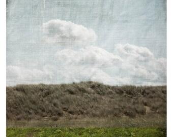 Vert Brun (Landscape Photography - Fine Art Print - Nature - Grass - Sky -country -Clouds - Minimalist - Blue - Brown - Green)