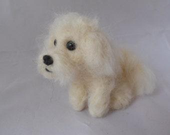 Custom Maltese needle felted dog - needle felted origonal animal soft sculpture. - small size