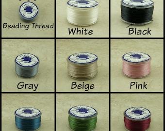 One G Beading Thread - 100% Nylon 50 yards 300 Denier Loom Loomwork Peyote Stitch String - White Black Gray Beige Blue Pink Wine Green