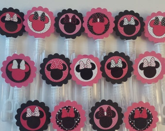 Minnie Mouse Mini Bubble wands birthday party favors - set of 15