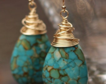 Turquoise Wire Wrapped Earrings - Turquoise Gold Earrings- Fire Turquoise Earrings - Gold Turquoise Earrings - Blue Turquoise Earrings