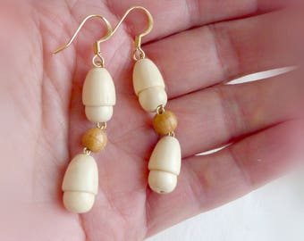 Dangle wood earrings Beige and white wood earrings Drop wooden earrings Neutral wood earrings Eco jewelry gift Anniversary gift for wife